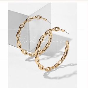 Gold colored Post Hoop Chain Link Earrings